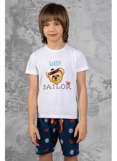 Katia & Bony Marine Teddy Bear Baskılı Erkek Çocuk şortlu Pijama Takımı - Beyaz Beyaz